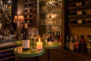 The restaurant bar at the farmhouse
